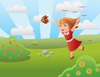 fjäril som jagar flickan Royaltyfri Foto