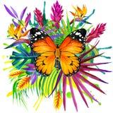Fjäril, tropiska sidor och exotisk blomma stock illustrationer