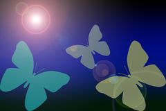 Fjärilar av fred i ett mörkt - blå lutning med en sol- eller linsväderkorn stock illustrationer