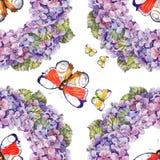 Fjärilar för girland för bukettvanlig hortensiablomma, vattenfärg Fotografering för Bildbyråer