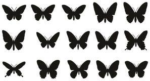 fjärilar inställda silhouettes Royaltyfri Illustrationer