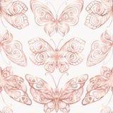 Fjärilar med dekormodellen Sömlös modell, bakgrund Diagram i rosa guld- färger Royaltyfria Bilder