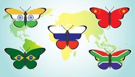 Fjärilar med flaggor av länder stock illustrationer