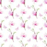 Fjärilar och blommor räcker den utdragna vattenfärgen den sömlösa modellen arkivfoto