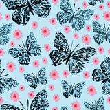 Fjärilar och Dasies-fjäril trädgård, sömlös repetitionmodell vektor illustrationer
