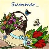 Fjärilar och en korg av blommor på en vykort vektor illustrationer