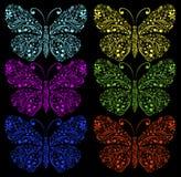 Fjärilar på en svart bakgrund Fotografering för Bildbyråer