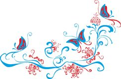 Fjärilar på hörn för blommagemkonst royaltyfri illustrationer