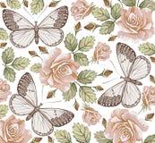 Fjärilar. Rosor. Blommor. Härlig bakgrund. vektor illustrationer