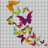 Fjärilar som dras från mosaiken. Vektor Stock Illustrationer