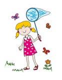 fjärilar som little jagar flickan Royaltyfri Foto