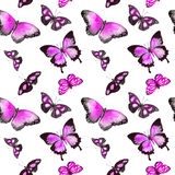 fjärilar upprepa för bakgrund vattenfärg Fotografering för Bildbyråer