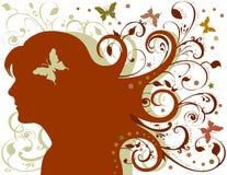 fjärilen blommar grungeladyen stock illustrationer