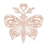 Fjärilen för fantasin för metallisk för tatueringrosen textur för guld- folie utformar den utsmyckade med det dekorativa totemdju Arkivbild