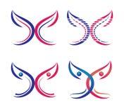 Fjärilen logoen, hjärta, skönhet, kopplar av, älskar, vingar, yoga, livsstil, abstrakta fjärilar ställde in symbolsymbolsvektorn royaltyfri illustrationer