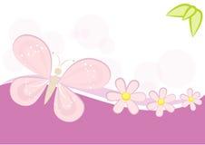 Fjärils- och blommabakgrund Arkivbilder