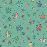 Fjärils- och blommabakgrund Royaltyfria Bilder