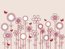 Fjärils- och blommabakgrund Fotografering för Bildbyråer