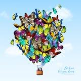 Fjärilsballongbakgrund stock illustrationer