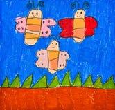 fjärilsbarn som tecknar lyckligt s tre Royaltyfri Foto