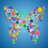 fjärilsblommafjäder vektor illustrationer