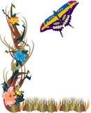 fjärilsblommaträdgård vektor illustrationer