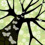 fjärilsblommatree stock illustrationer