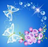 fjärilsblommor stock illustrationer