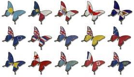 fjärilscollage flags oceania Fotografering för Bildbyråer