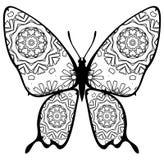 Fjärilsfärgläggning för ungar och vuxna människor för ögonblick av avkoppling royaltyfria foton