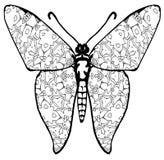 Fjärilsfärgläggning för ungar och vuxna människor för ögonblick av avkoppling arkivbild