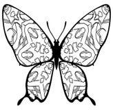 Fjärilsfärgläggning för ungar och vuxna människor för ögonblick av avkoppling royaltyfri fotografi