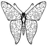 Fjärilsfärgläggning för ungar och vuxna människor för ögonblick av avkoppling arkivfoto