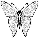Fjärilsfärgläggning för ungar och vuxna människor för ögonblick av avkoppling arkivfoton