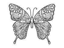 Fjärilsfärgläggningbok för vuxen människavektor arkivfoto