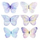 Fjärilshanden målade vattenfärgsamlingen på vit bakgrund Användas för kort och att gifta sig inbjudningar, kan logoen som skrivar stock illustrationer