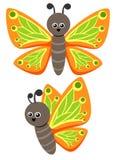 Fjärilsillustration som ett roligt tecken Gulligt litet kryp med härliga vingar Fotografering för Bildbyråer