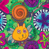 Fjärilskatten blommar Seamless Pattern_eps Arkivbild