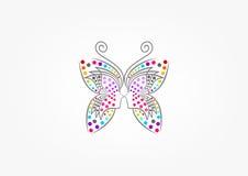 Fjärilslogoen, brunnsorten, mode, skönhetkvinnan, massage, kopplar av, skönhetsmedlet och sjukvårdbegreppsdesignen royaltyfri illustrationer
