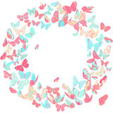 Fjärilsram, kransdesignbeståndsdel i rosa färger och blått Arkivbild