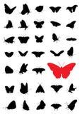fjärilssilhouettes royaltyfri illustrationer