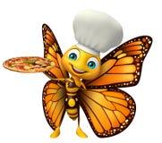 Fjärilstecknad filmtecken med pizza- och kockhatten royaltyfri illustrationer