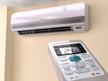 Fjärrkontroll som riktas på luftkonditioneringsapparatsystrem Arkivbilder