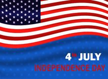 Fj?rdedel av den Juli sj?lvst?ndighetsdagen av USA USA flagga som vinkar på blå bakgrund med stjärnan Vektorillustration EPS10 vektor illustrationer
