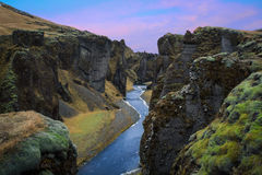 Fjaðrà ¡ rgljúfur & ηλιοβασίλεμα Στοκ Εικόνες