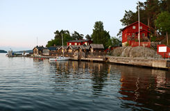 Fjaderholmarna at white night. Stockholm's nearest archipelago islands Stock Image
