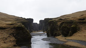 Fjadragulfur canyon. In spring in Iceland stock photo