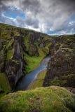 Fjadrargljufur峡谷风景看法在南冰岛夏天 图库摄影