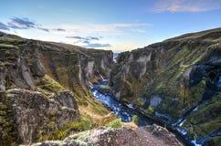 Fjadrargljufur kanjon, Island Royaltyfria Bilder