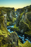 Fjadrargljufur rzeka w południowo-wschodni Iceland i jar Obrazy Royalty Free